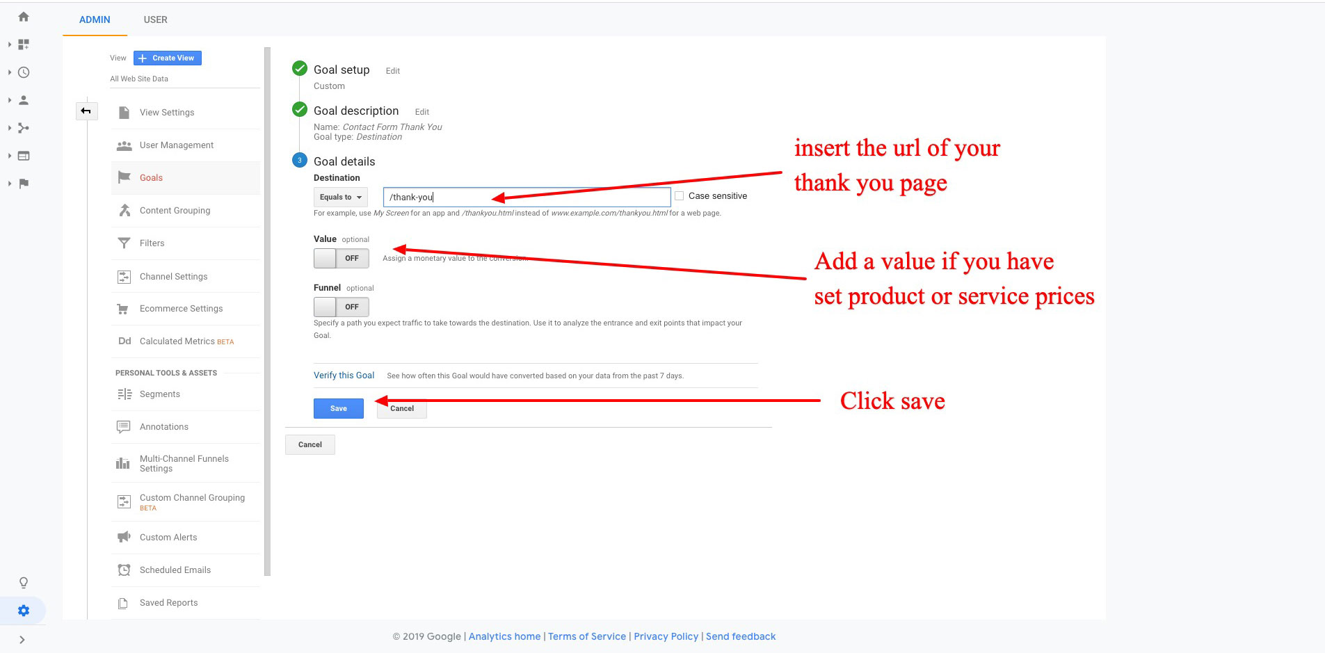How to set up url destination conversion goals in Google analytics